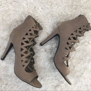 Worthington Lace Up Heels Peep Toe Ankle Bootie 7